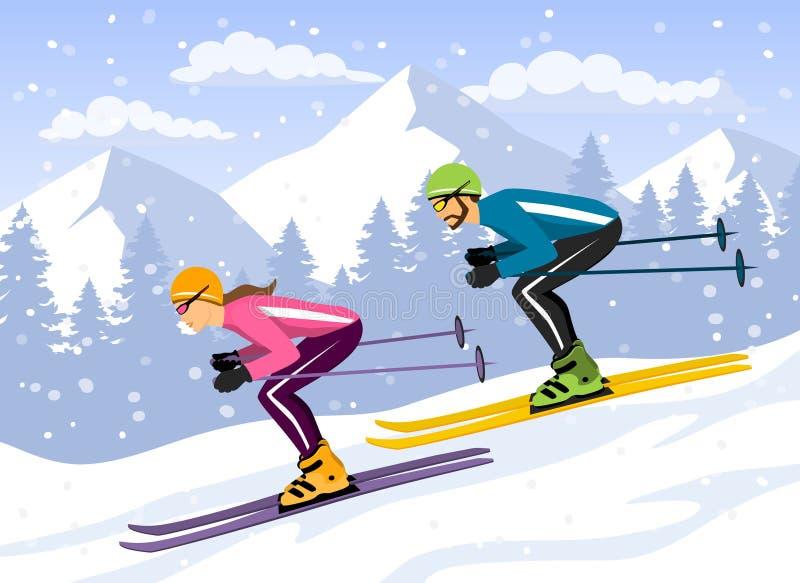夫妇、滑雪的男人和的妇女下坡 皇族释放例证