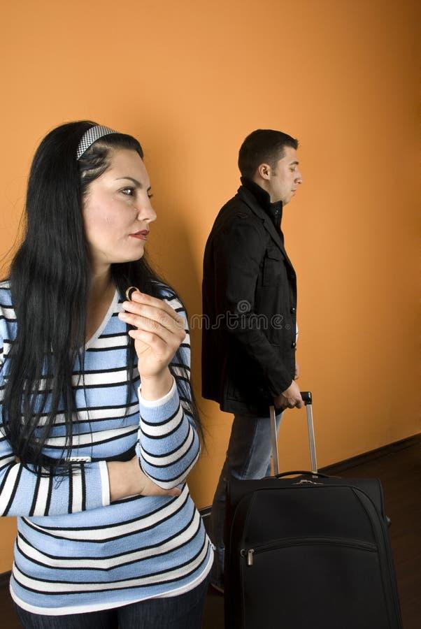 夫妇与痛苦离婚 图库摄影