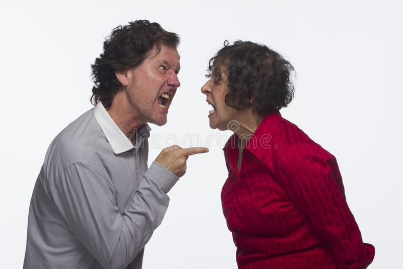 夫妇争论,水平 免版税图库摄影