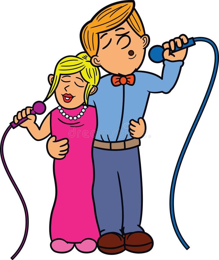 夫妇二重奏歌手动画片 图库摄影