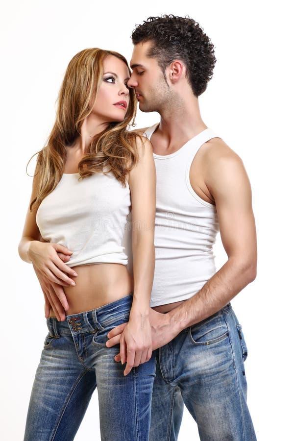夫妇亲吻热情 免版税库存照片