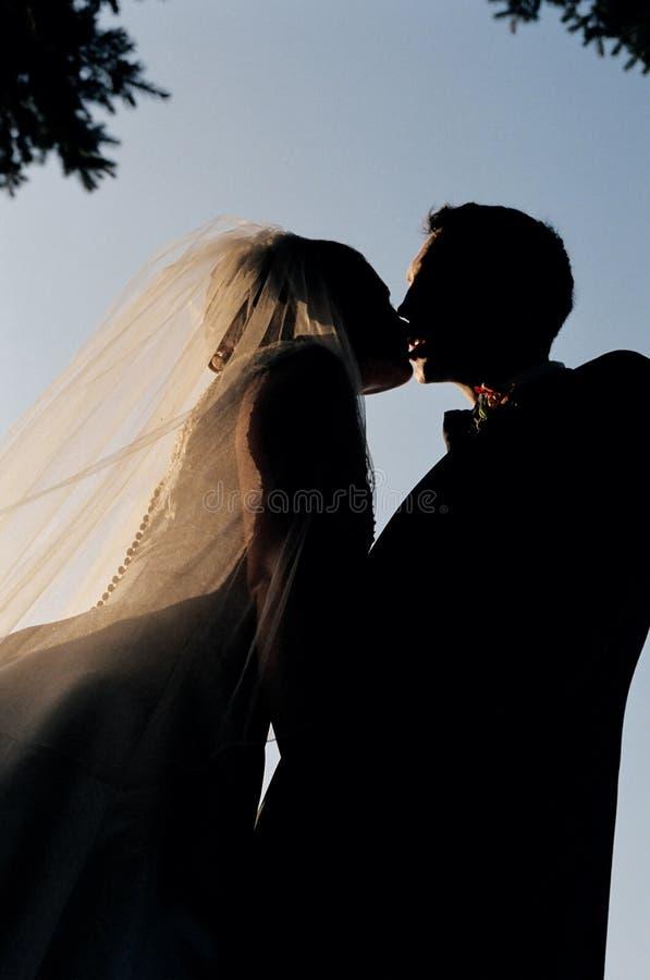 夫妇亲吻的剪影 库存照片