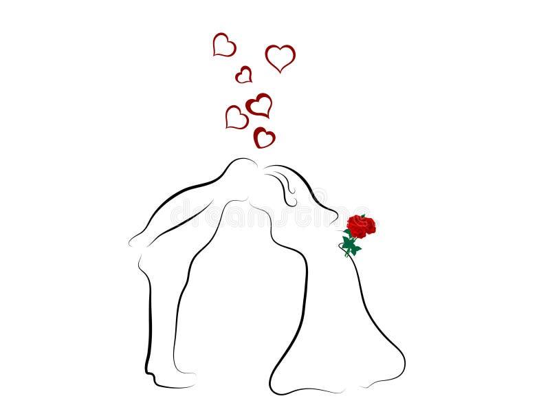 夫妇亲吻的婚礼 库存例证