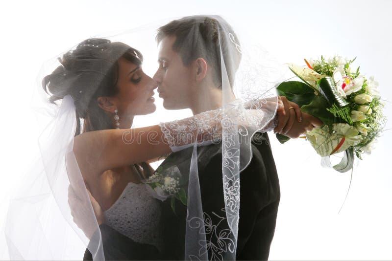 夫妇亲吻的纵向婚礼 库存照片