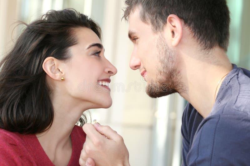 夫妇从事的愉快的爱 库存照片