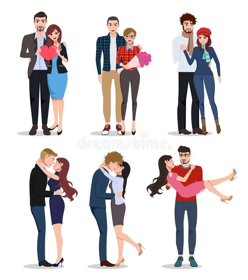 夫妇传染媒介字符集合 关系约会的华伦泰恋人 向量例证