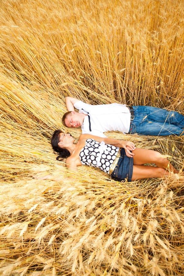 夫妇位于的麦子 免版税库存照片
