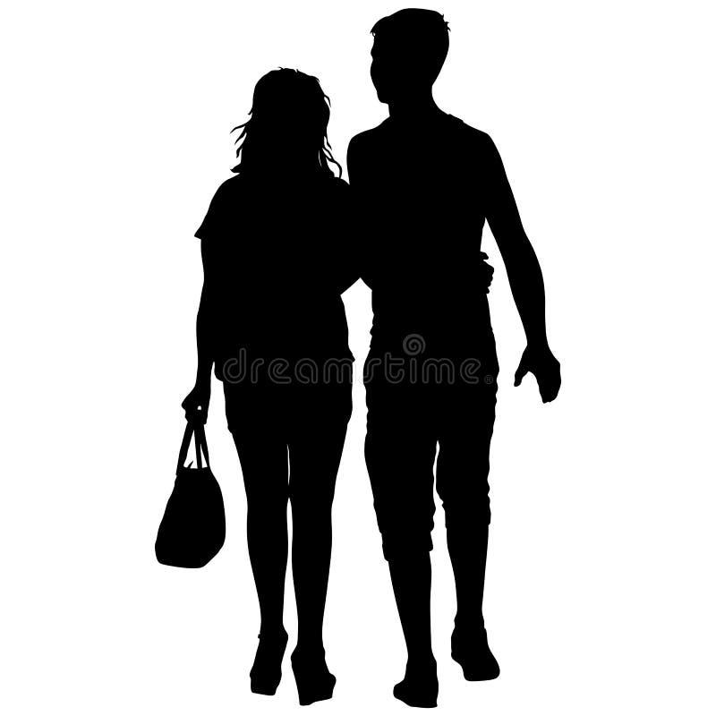 夫妇供以人员和在白色背景的妇女剪影 也corel凹道例证向量 皇族释放例证