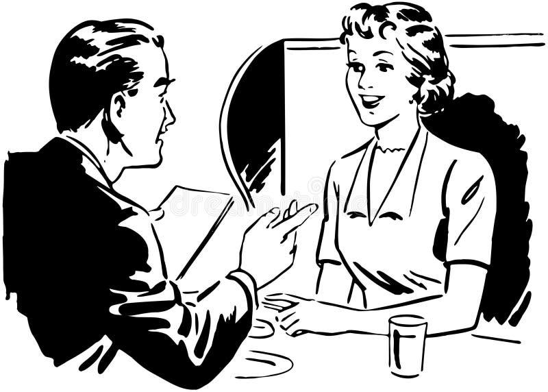 夫妇供以座位在摊 库存例证