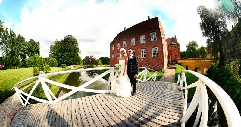 夫妇全景婚礼 免版税库存图片