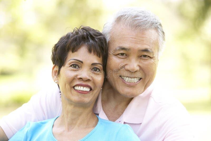 夫妇公园纵向前辈 免版税库存图片