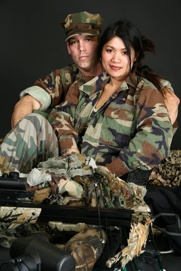 夫妇军人 免版税图库摄影