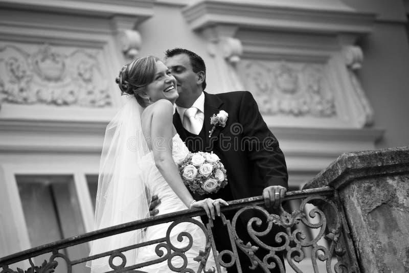 夫妇减速火箭的婚礼 库存图片