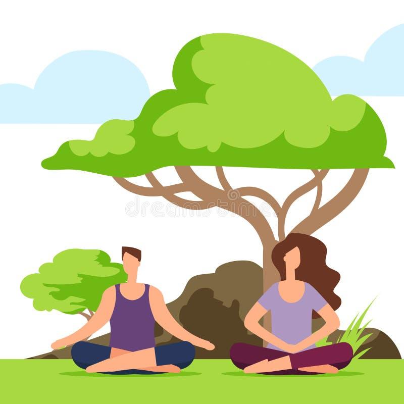 夫妇凝思在公园 做在自然的女孩和男孩瑜伽 库存例证