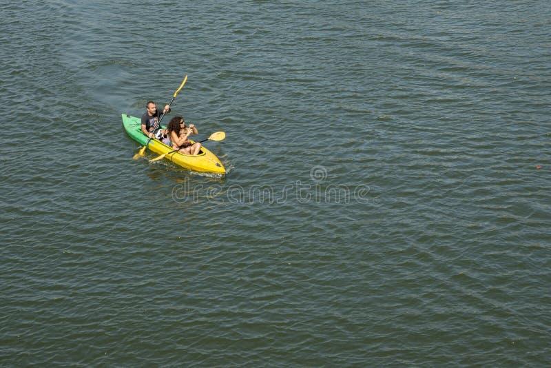 夫妇划船 库存图片
