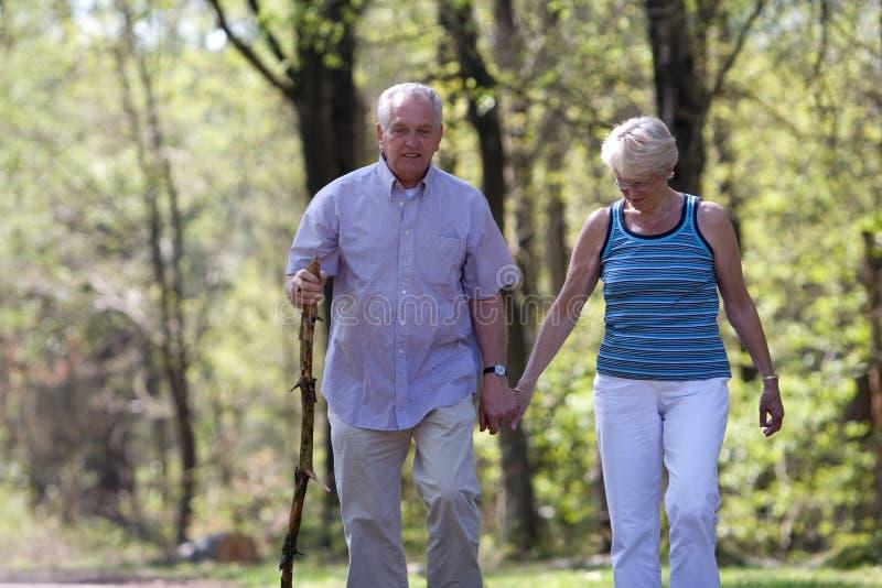 夫妇前辈走 免版税库存图片
