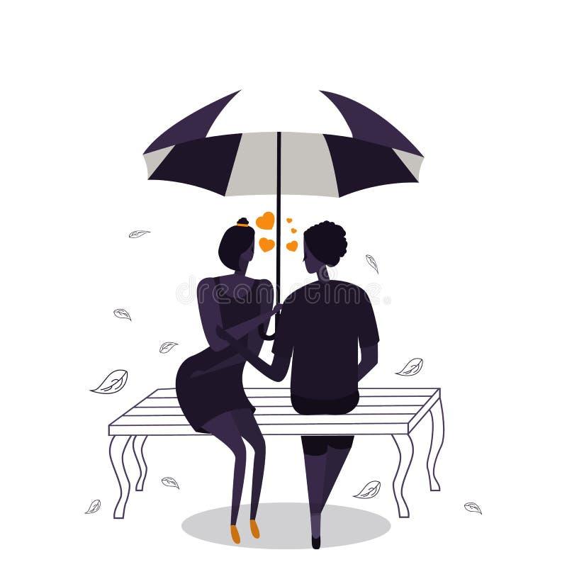 夫妇剪影在有心脏形状的伞下爱,浪漫 向量例证