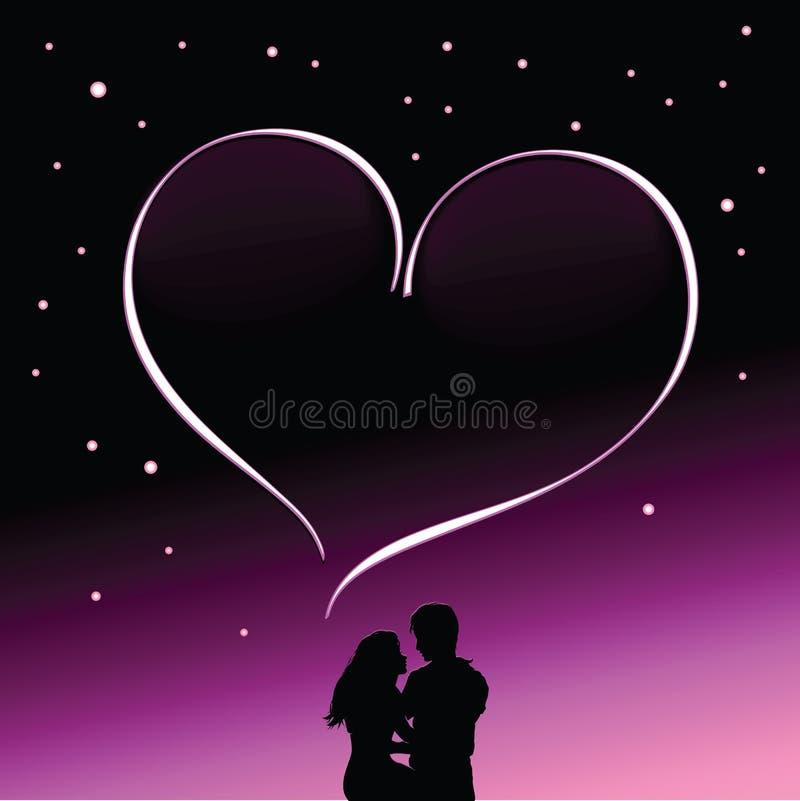 夫妇剪影在爱的反对繁星之夜背景  向量例证