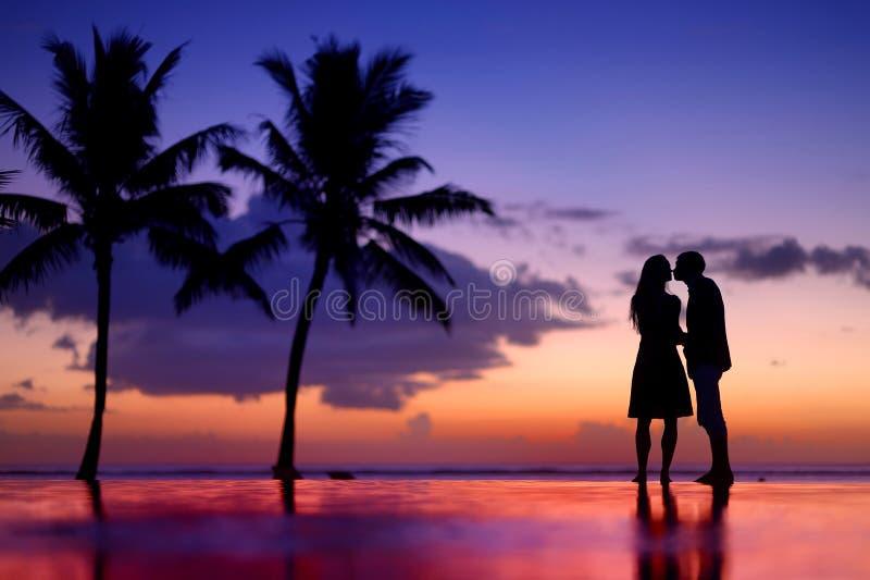 年轻夫妇剪影在风景日落的 库存照片