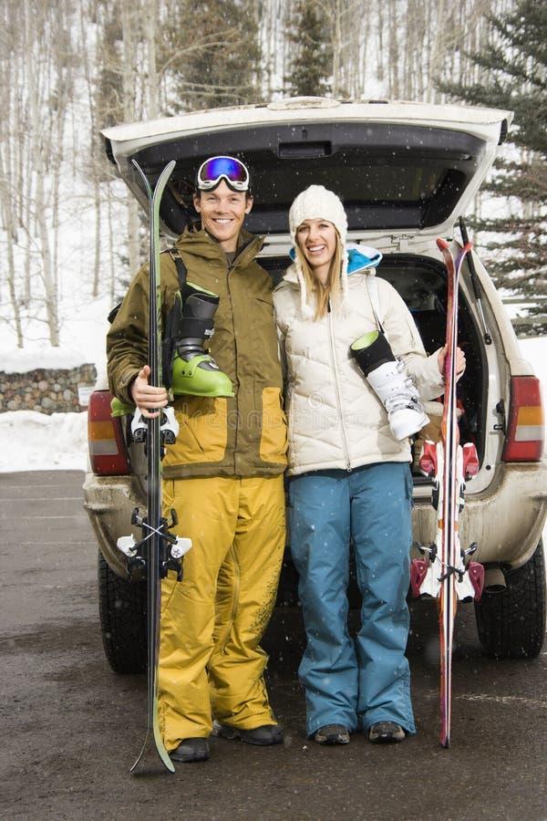 夫妇去的滑雪 库存图片