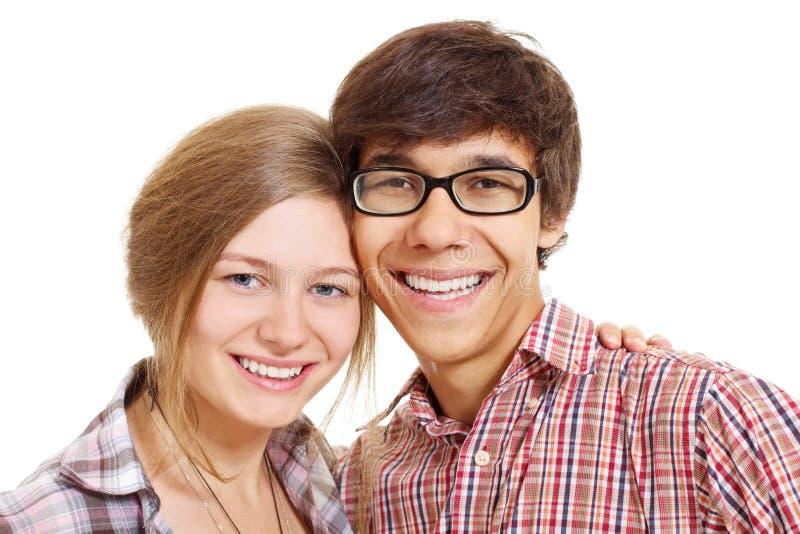 夫妇可爱微笑少年 库存照片