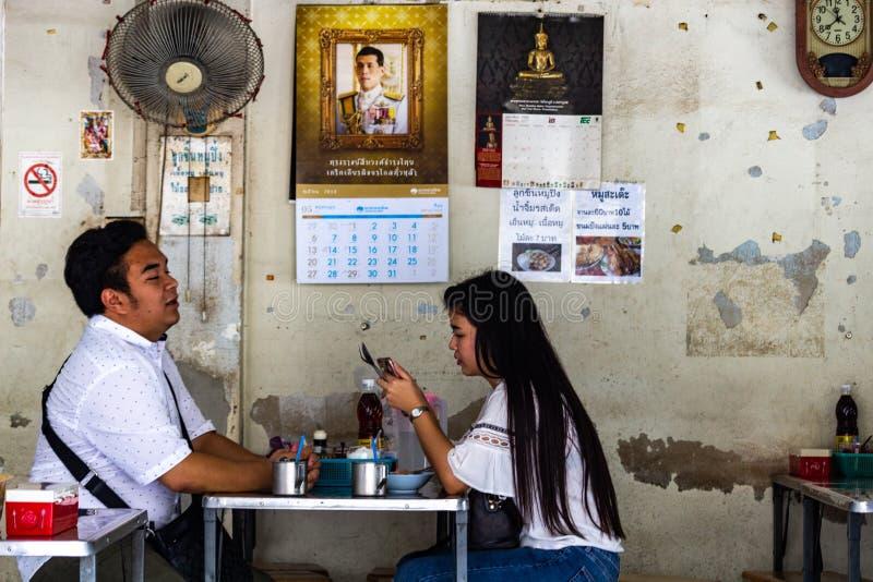 夫妇吃午餐在曼谷 免版税库存图片