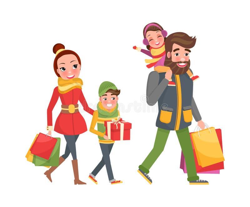 夫妇和儿童袋子,礼物,礼物盒 皇族释放例证