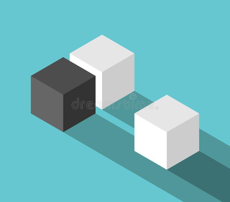 夫妇和奇怪的立方体 库存例证
