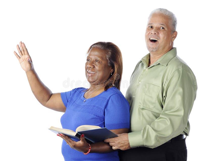 夫妇唱称赞 免版税图库摄影