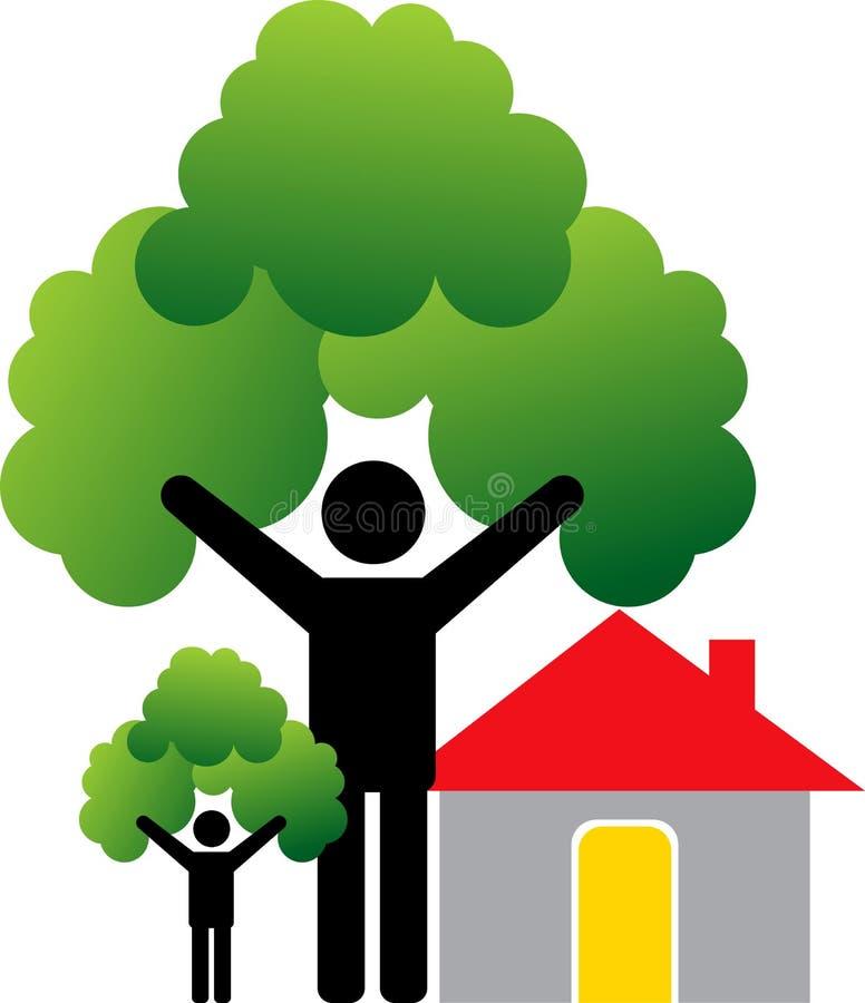 夫妇回家结构树 库存例证
