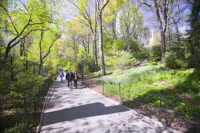夫妇在中央公园,纽约,纽约在春天散步 免版税库存图片