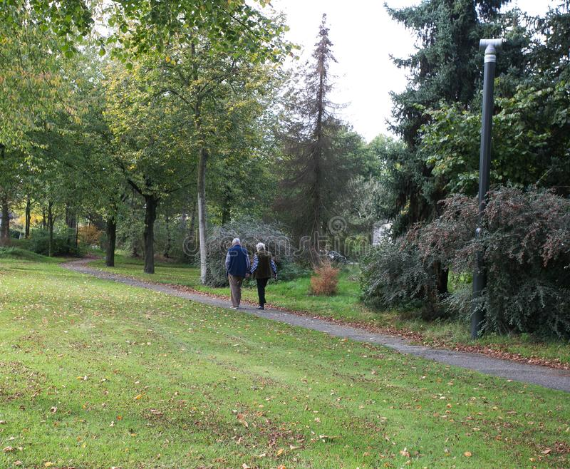 夫妇在公园手拉手走 图库摄影