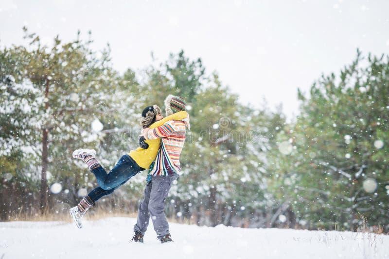 夫妇在冬天公园 库存照片