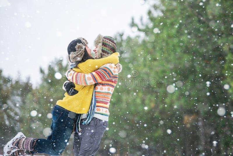 夫妇在冬天公园 免版税图库摄影