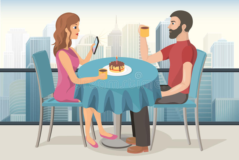 夫妇在屋顶的一个日期冠上咖啡馆 库存例证