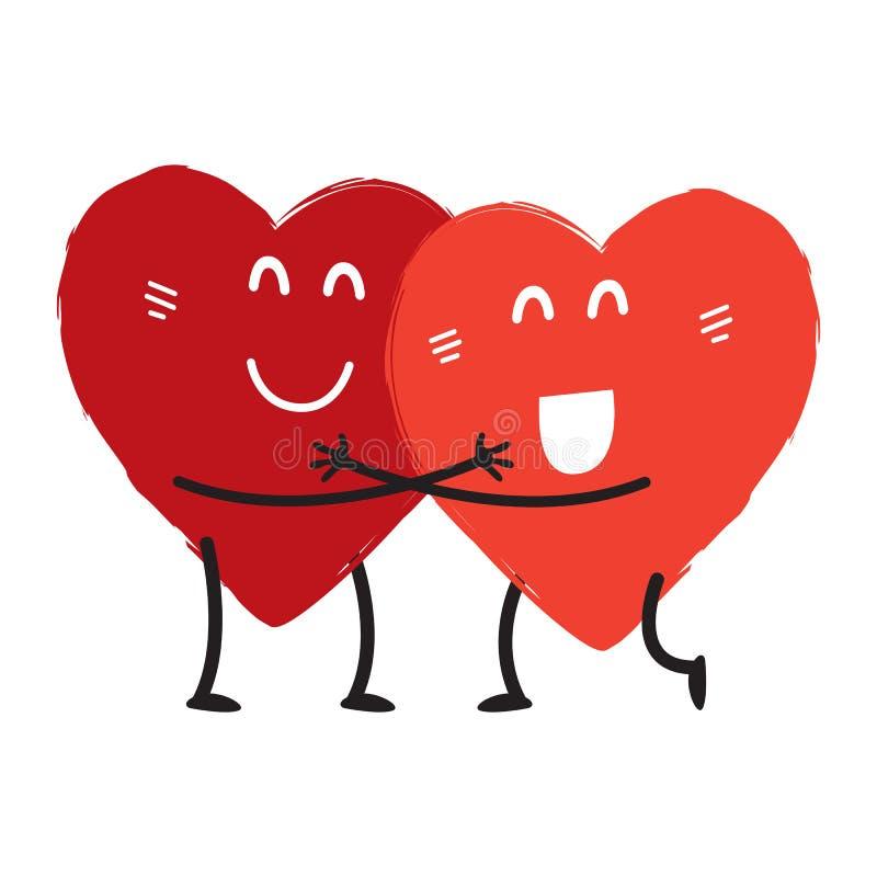 夫妇在拥抱爱概念两逗人喜爱的心脏,传染媒介 库存例证
