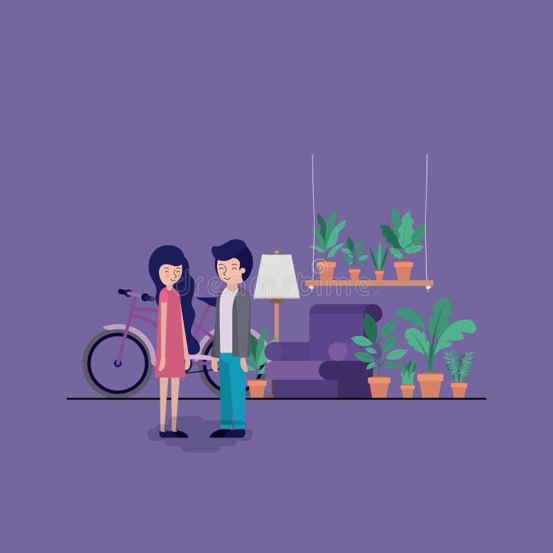 夫妇在有室内植物和自行车的客厅 库存例证