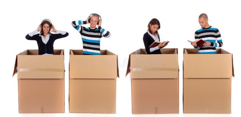 夫妇在线图书馆音乐 免版税库存照片