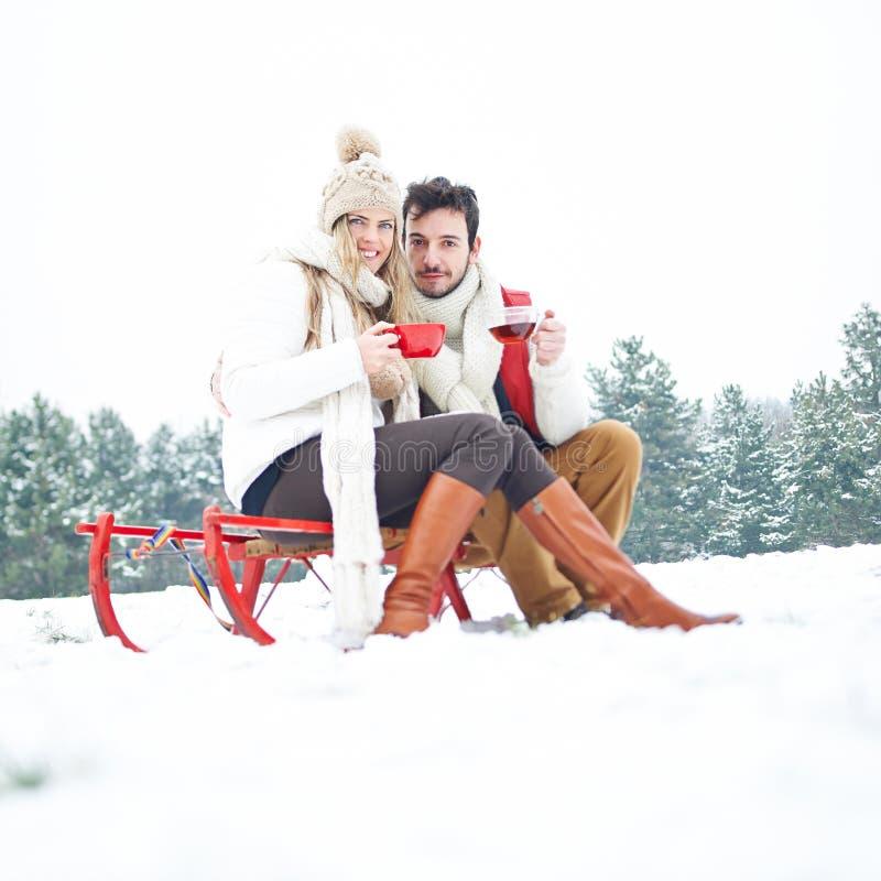 夫妇在雪撬饮用的茶的冬天 免版税库存图片