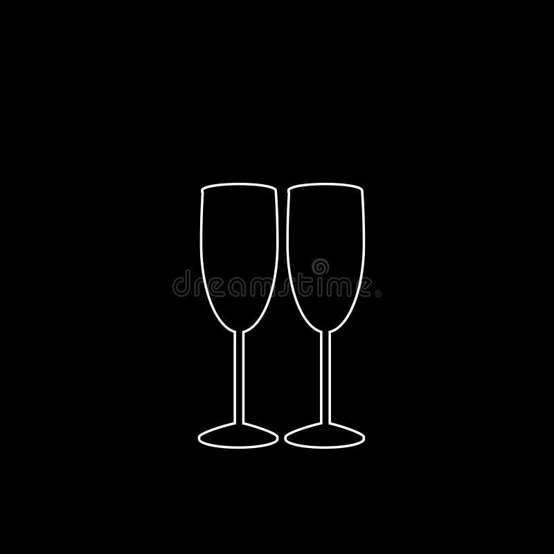 夫妇在黑背景的香槟玻璃白色概述象  库存例证