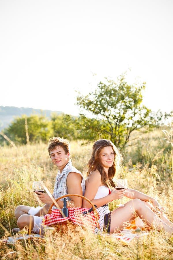 夫妇坐草甸 免版税库存照片