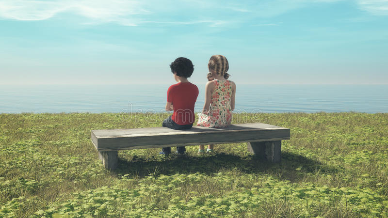 年轻夫妇坐长凳 图库摄影