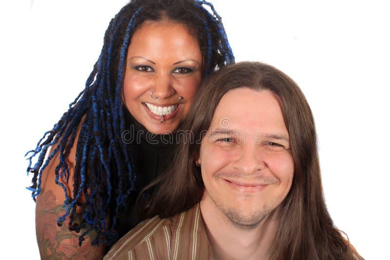夫妇多种族 库存照片