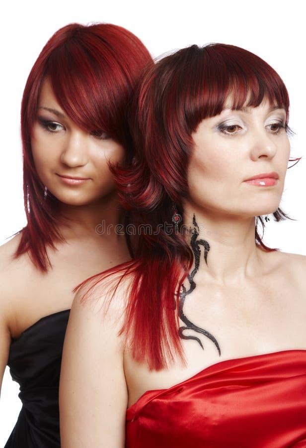夫妇头发的红色 免版税库存照片