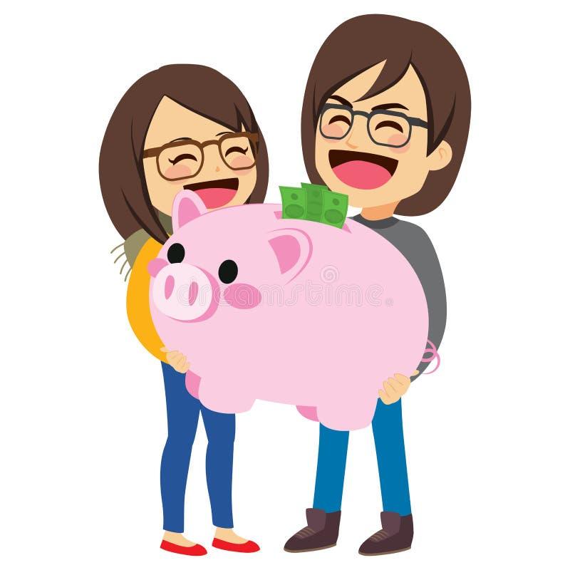 夫妇存钱罐储款 库存例证