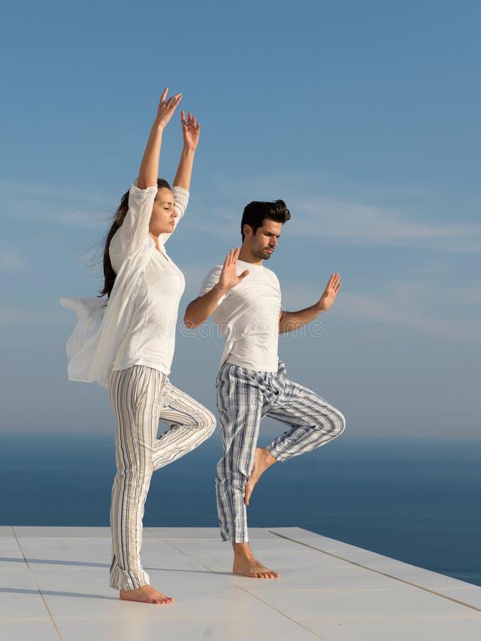 年轻夫妇实践的瑜伽 免版税库存照片
