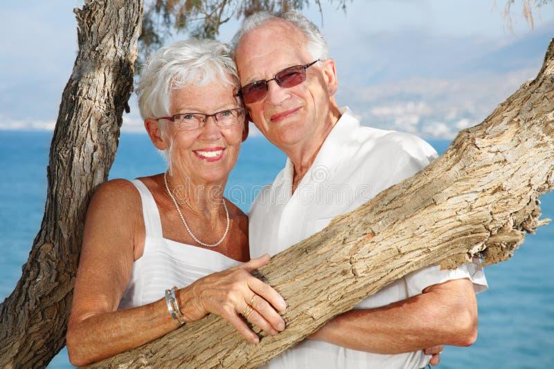 夫妇年长愉快的爱 免版税图库摄影