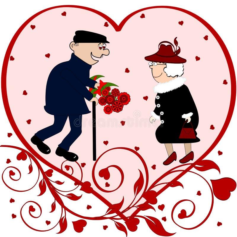 夫妇年长爱向量 向量例证