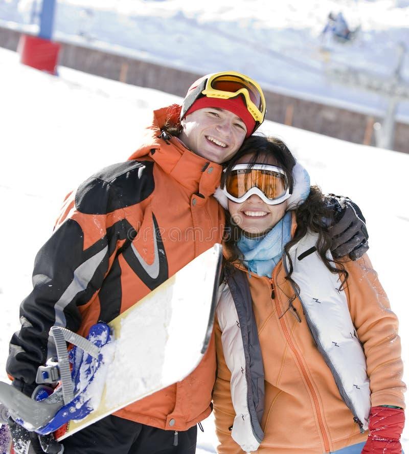 夫妇幸运的山挡雪板谷 免版税库存照片
