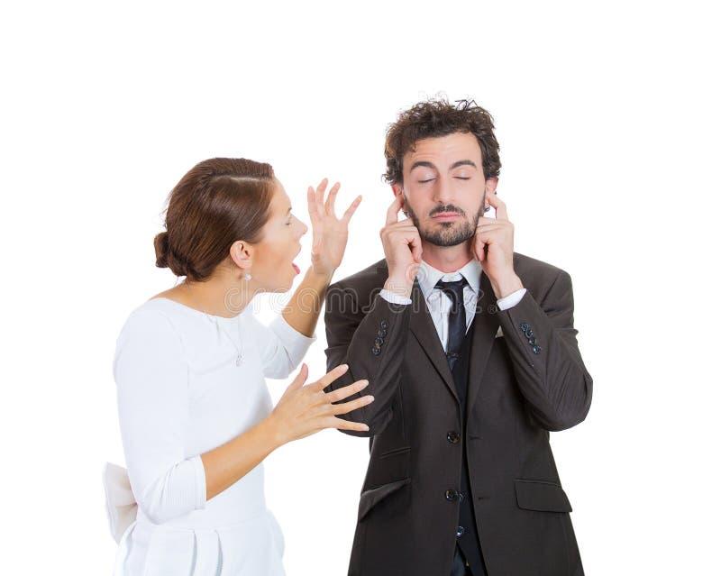 夫妇强调 丑闻 免版税图库摄影